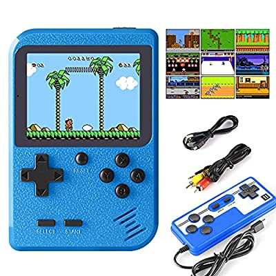 JAMSWALL Retro Handheld Game Console, Portable Retro Video Game Console with 400 Classical FC Games 2.8-Inch Screen 800mAh Rechargeable Battery Support for Connecting TV and Two Players(Blue) from JAMSWALL