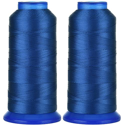 Selric [3000 Yards / 30 Colors Available] Pack of 2 UV Resistant High Strength Polyester Thread #69 T70 Size 210D/3 for Upholstery, Outdoor Market, Drapery, Beading, Purses, Leather ( Royal Blue )