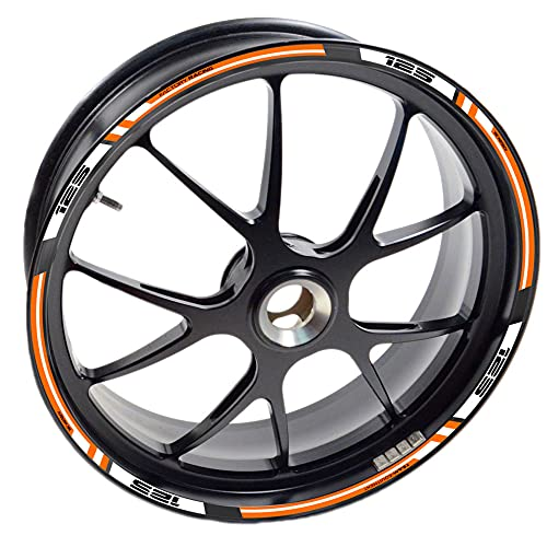 Adesivo 125 Moto Duke per 2 cerchione 125 SX EXC RC Adventure Super R Ruota Nastri Adesivo Vinile (arancione)
