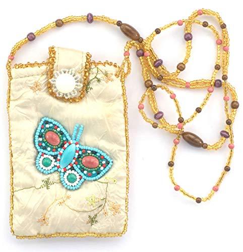 Bolsa de seda para teléfono portátil diseño mariposa–Bolas de cristal y porcelana
