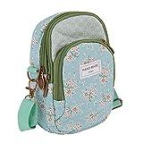 Borsa a tracolla da donna con motivo floreale, in cotone, per il trasporto di carte e cellulare, a più strati, Verde chiaro (Verde) - YLucky shoulder bag 123