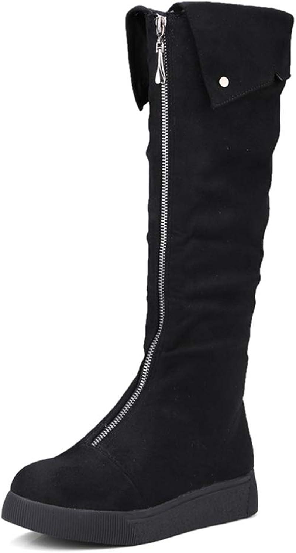 kvinnor stövlar Front Zipper Knee höga stövlar Mode Platt Mid Mid Mid klackar Winter skor kvinnor kvinnor Food Mode stövlar  spara upp till 80%