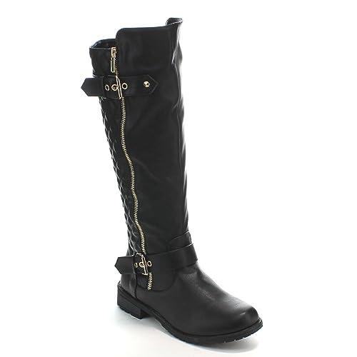 ba3fd2f96d48 Flat Black Knee High Boots  Amazon.com