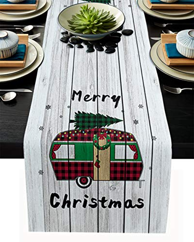 Table Runner Dresser Scarf, Happy Camping Bus with Christmas Tree Snowflake Burlap Dining Table Cover for Farmhouse Kitchen, Dinner Holiday Parties, Wedding, Events Decorations 13'x108'
