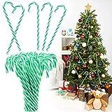 PERFETSELL 50 Stücke Zuckerstangen Weihnachten Weihnachtsbaumschmuck Grün-Weiß Candy Canes Zuckerstangen Plastik Weihnachtsbaum Anhänger 15cm Lang Weihnachtsdeko Baumschmuck für Weihnachts Deko
