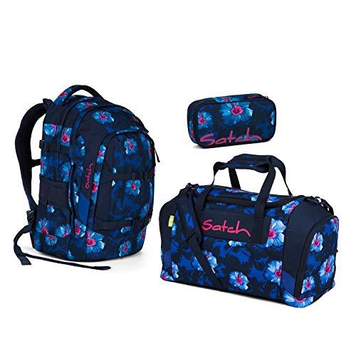Satch Pack Waikiki Blue Schulrucksack Set 3tlg.