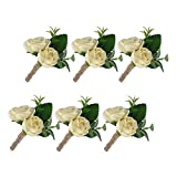 YSUCAU Handcrafted Boutonniere for Men Wedding, Brooch Bouquet Corsage Classic Artificial Groom Bride Flowers with Pin for Wedding Prom Party Set of 6