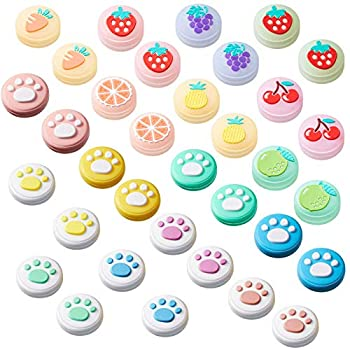 32 Pieces Replacement Soft Silicone Cat Paw and Fruit Design Thumb Grip Caps Analog Stick Cover Joystick Cap Luminous Cover Compatible with Nintendo Switch Switch Lite Joy-Con Controller