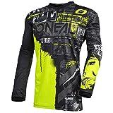 O'Neal | Camiseta de Motocross Manga Larga | MX Enduro | Protección Acolchada para los Codos, Cuello en V, Transpirable | Camiseta Element Ride para Hombres | Adultos | Negro Amarillo Neón | Talla XL