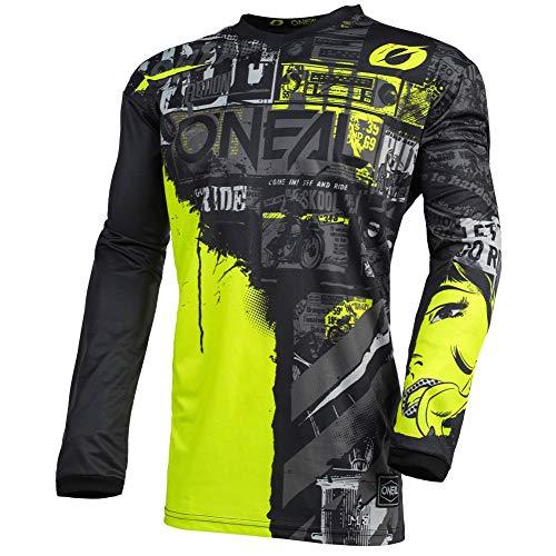 O'NEAL | Motocross-Jersey Langarm | MX Enduro | Gepolsterter Ellbogenschutz, V-Ausschnitt, atmungsaktiv | Element Youth Jersey Ride für Kinder | Schwarz Neongelb | Größe XL