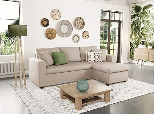 Canapé d'angle 2 places Beige Tissu