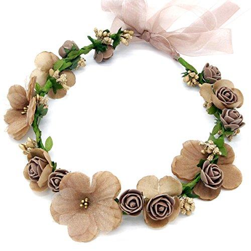 Oblique-Unique® Blumen Haarband Stirnband Blumenkranz Haarschmuck Kopfschmuck Bohemia Style Mädchen Damen - Farbe wählbar - (Braun)