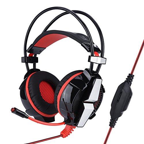 Dpofirs Auriculares para Juegos con Cable para Jugadores, Auriculares para Juegos con USB Auriculares estéreo envolventes para subwoofer estéreo con micrófono Cable Adaptador de 3.5 mm Auriculares