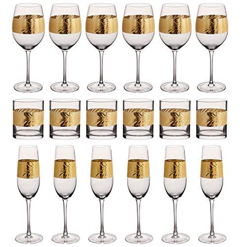Juego de copas de vino con diseño de hojas doradas Art Deco de 18 piezas, copas de vino, flauta y vasos de cristal