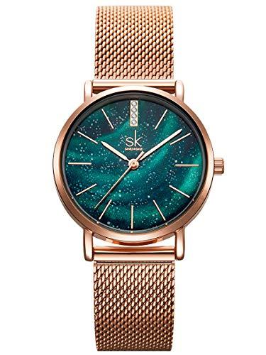 Alienwork Armbanduhr Damen Rose-Gold Metall Mesh Armband Edelstahl grün Ultra-flach Elegant