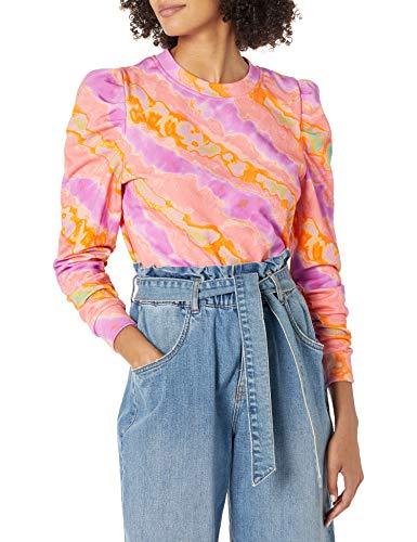 KENDALL + KYLIE Women's Puff Sleeve Crew Neck Top, Lilac/Orange/Coral, Medium