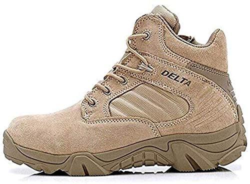 LiliChan Uomo Tattici Boots Delta Zip Laterale Uniforme Stivali Militari Lavoro della Caviglia (43, Marrone)