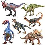 6 Unids / Set Dinosaurio De Simulación Jurásica Modelo Animal Hoz Dragón Parasaur Triceratops Centrosaurus Doble Corona Juguetes para Niños 18-23 Cm