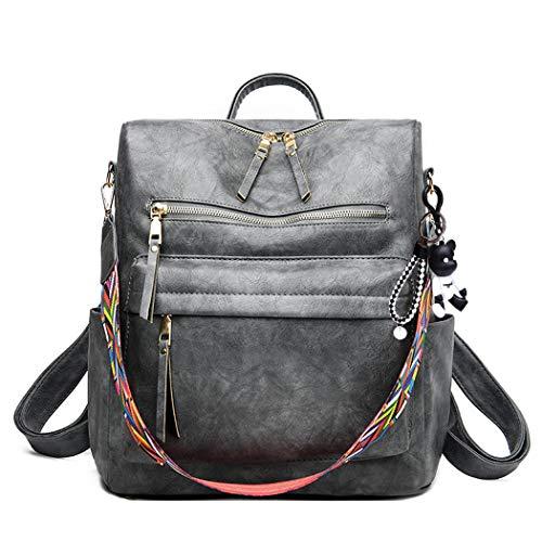 BUKESIYI Damen Tasche Rucksack Handtasche Frauen backpack Klein Anti Diebstahl Schulrucksack Laptop Weekender PU Leder CCDE78203 Grau