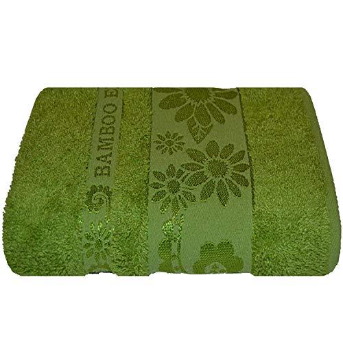Bamboo Exclusive・Toalla de sauna de bambú 100% natural, toalla de rizo multifuncional antibacteriana, tamaño 90 cm x 150 cm, variante de color verde
