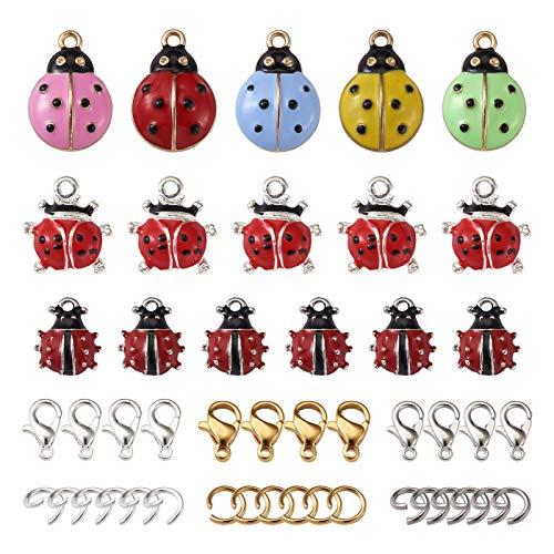 PandaHall 32 colgantes de aleación esmaltados con diseño de mariquita, con cierres de pinza de...