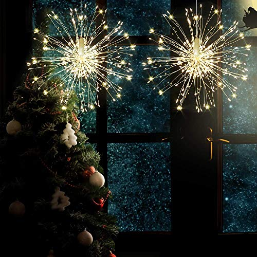 8 packs Firework Lights Copper Wire LED Lights, 8 Modes Dimmable String Fairy Lights with Remote Control, Waterproof Hanging Starburst Lights for Parties,Home,Christmas Outdoor Decoration