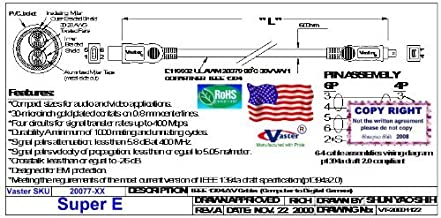 Vaster IEEE-1394 FireWire iLink DV Cable 6P-4P, IEEE 1394 Firewire in DV - iLInk Cable, 6 P to 4 P, 6 Ft