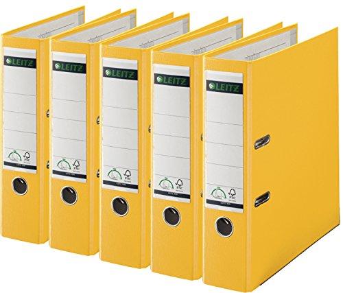 Leitz 1010-50 Qualitäts-Ordner Plastik-Cover (A4 breit| 5er Pack, gelb)
