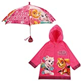 Nickelodeon Little Girls Paw Patrol Character Slicker and Umbrella Rainwear Set, Pink, Age 2-7, Age 2-3