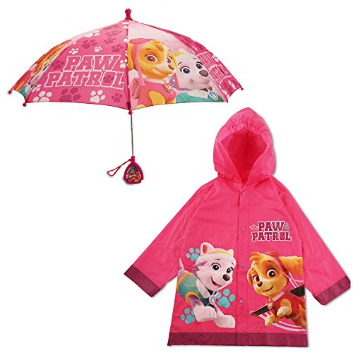 Nickelodeon Little Girls Paw Patrol Character Slicker and Umbrella Rainwear Set, Rosa, Edad 2-7, Rosado,…