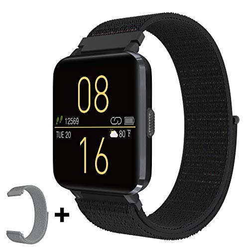 "Kalakate Smart Watch for Men Women, Fitness Tracker with IP68 Waterproof for Android iOS Phone, Smartwatch with 1.54"" Touch Screen, Pedometer, All-Day Heart Rate, Sleep Monitoring, Weather Forecast"