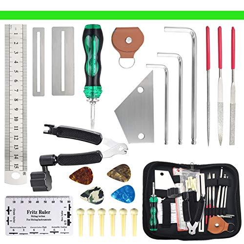 Gitarre Reparatur-Werkzeug, 26 Stücke Gitarren Pflege-Set, für Ukulele Bass Mandolinen Banjo Gitarre