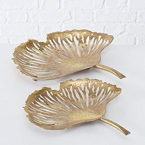 Home Collection Hogar Muebles Decoraciones Accesorios Adornos Juego de 2 Cuencos Decorativos en Forma de Hojas de Ginco Hierro Dorado Altura 33-42 cm