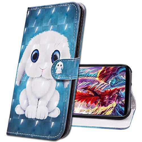 MRSTER Samsung A71 Funda con Tapa Cover Premium PU Leather Wallet Case Creativa 3D Diseño de Pintado Carcasa de Cuero Billetera Estuche para Samsung Galaxy A71. CY Cute Rabbit