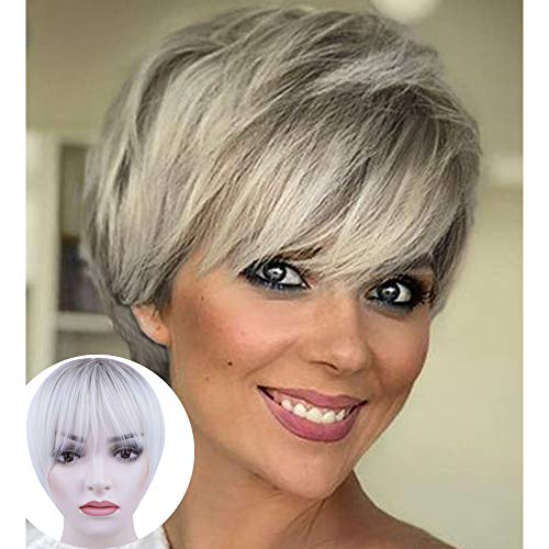 BECUS Ombre Roots Ash Brown to Bleach Blonde Short Pixie Cut Wig with Bangs Heat Resistant Silky Straight Realistic Wigs for Women Daily Use Fashion Natural Looking