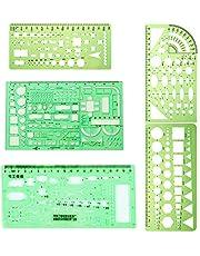 5 stuks sjablonen geometrische vormen, kunststof liniaal, voor kantoor en school, gebouwen, bekisting tekensjablonen, groen, transparant