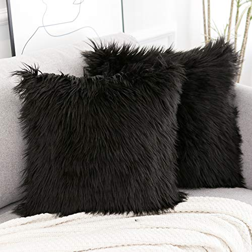 WLNUI Set of 2 Decorative Black Fluffy Pillow Covers New Luxury Series Merino Style Faux Fur Throw Pillow Covers Square Fuzzy Cushion Case 20x20 Inch