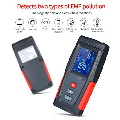 Roeam EMF Meter USB Rechargeable, Radiation Detector for Electromagnetic Field and Temeprature Precise for Home Appliances - Sound Light Alarm