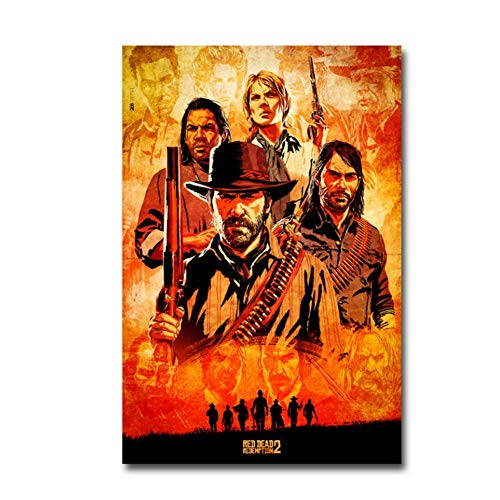 zxianc Red Dead Redemption 2 Juego Canvas Poster Wall Art Print Painting Wallpaper Decorative Wall Picture-50x70cmx1 sin Marco