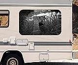3D Autoaufkleber Sonnenuntergang Fluss Landschaft schwarz weiß Wohnmobil Auto KFZ Fenster Sticker Aufkleber 21A854, Größe 3D sticker:ca. 161cmx 96cm