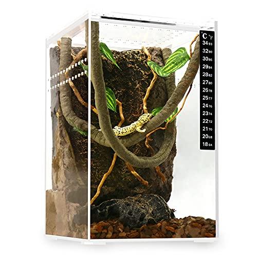 "Neptonion Acrylic Breeding Box 6""x6""x9"" Transparent Mini Reptile Vivarium Habitat Terrarium with Sliding Cover Magnetic Closure for Mini Animals,Such as Horned Frog,Hermit Crab,Spider,Snake,Mantis"