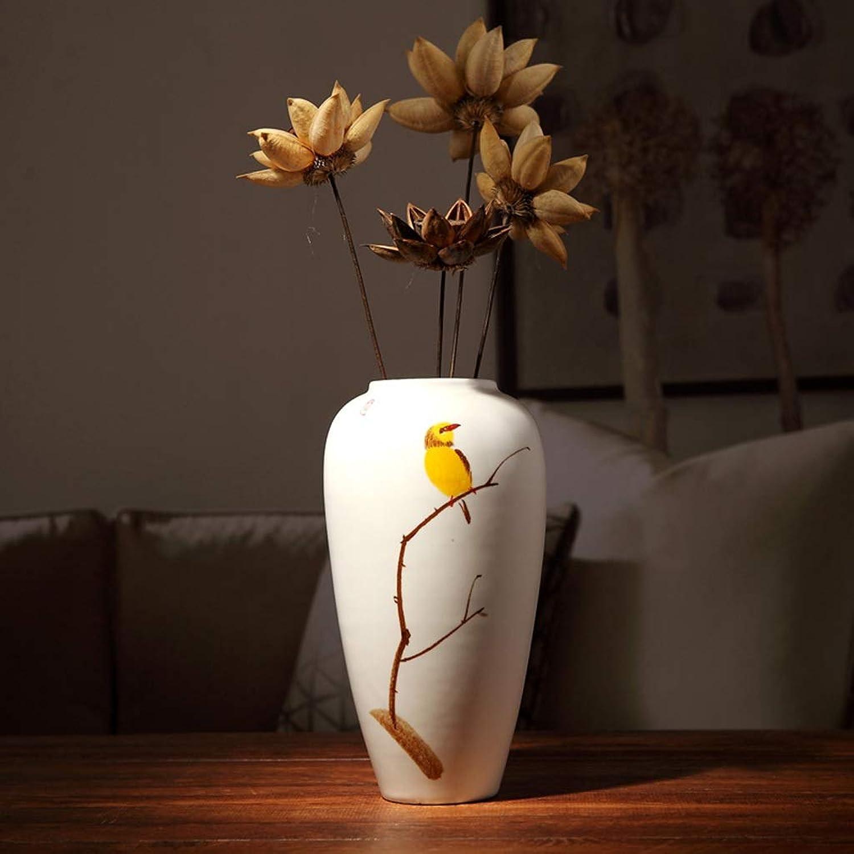 HI-vases Cafetería Floreros, Vino Mesa de Comedor Cerámica Pintado a Mano Escritorio Decoración del hogar Gabinete de TV Jarrones de Sala de Estar (Tamao   14  26CM)