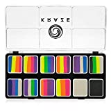 Kraze FX Neon Pop 1-Stroke 12 Split Cake Palette (6 gm) with 2 Brushes - Professional UV Glow Blacklight Reactive Body & Face Painting Kit, Water Activated, Hypoallergenic, Vibrant Face Paint