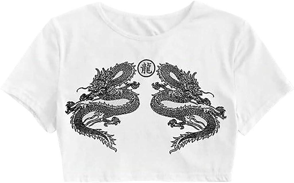 Womens Short Sleeve T-Shirt Casual Dragon Printed Fashion Sexy Slim Fit Blouse Sport Tee Shirts Crop Tops