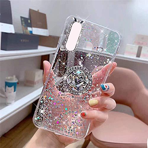 Kompatibel mit Samsung Galaxy A20S Hülle mit Diamant Ring Ständer,Handyhülle Galaxy A20S Glänzend Bling Glitzer Stern Transparent Silikon Hülle TPU Schutzhülle Case Tasche,Klar