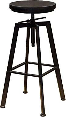 YF-Barstool Bar Chair Retro Industrial Back Breakfast Kitchen Chair Stool Round Iron Material Adjustable 62-82cm