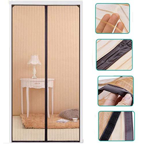 KARP Durable Polyester Mag-netic Screen Door Mosquito Net for Main Doors, Balcony Doors Or Kitchen Doors, Self-Closing Quick, Anti-Fly Bug Insect Mesh (100 cm Width X 210 cm Height, Coffee)