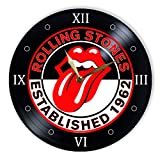 """Leooolukkin The Rolling Stones Vinyl Clock 12"""", Wall Clock Painted The Rolling Stones, Original Gifts, The Best Gift for Music Lovers, Unique Wall Art Home Decor"""