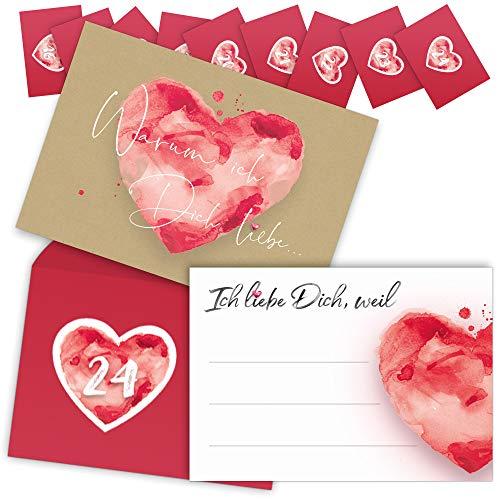 beriluDesign® Adventskalender mit 24 Karten - Ich Liebe Dich, Weil für Paare, Verliebte, Liebespaar