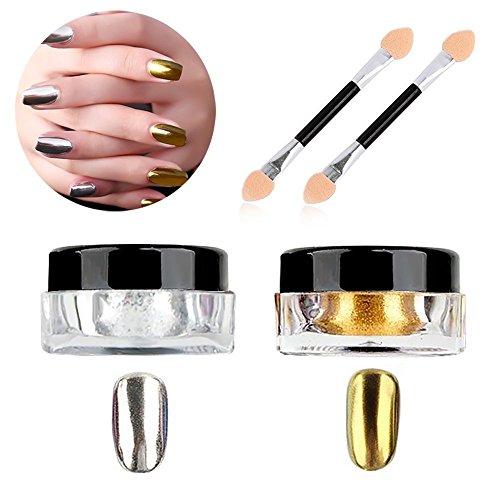 Poudre à ongles effet miroir Molie - Argenté, doré, chromé - Effet pailleté - 2 couleurs - Avec bâton éponge - 2 g